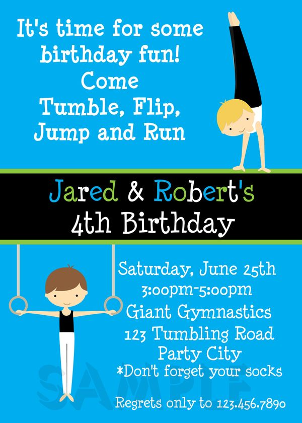 Printable birthday invitations twins party gymnastics themed printable boy birthday invitation stopboris Choice Image