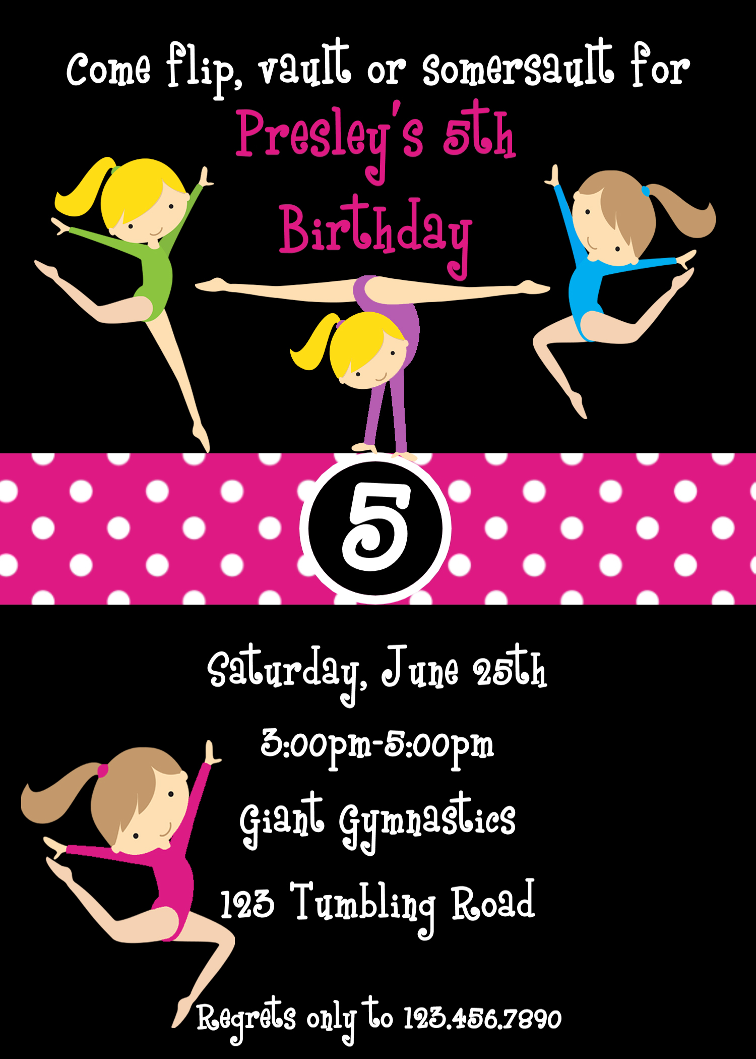 Printable Birthday Invitations Girls Gymnastics Party – Gymnastic Birthday Invitations