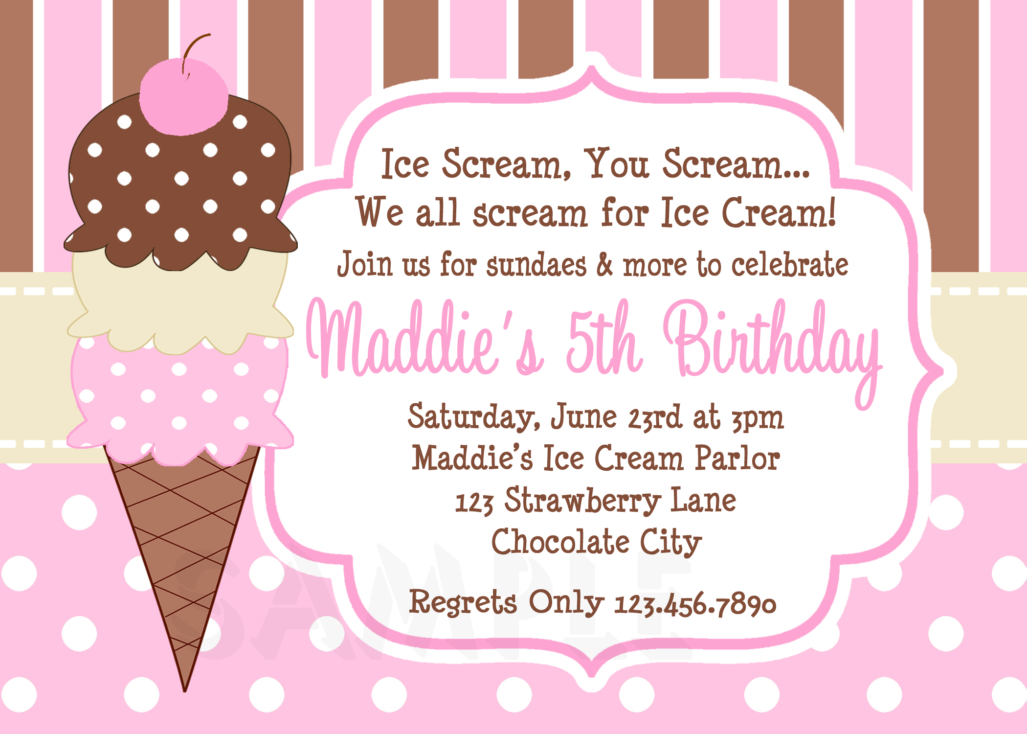 Ice Cream Birthday Party Invitations Pink Brown