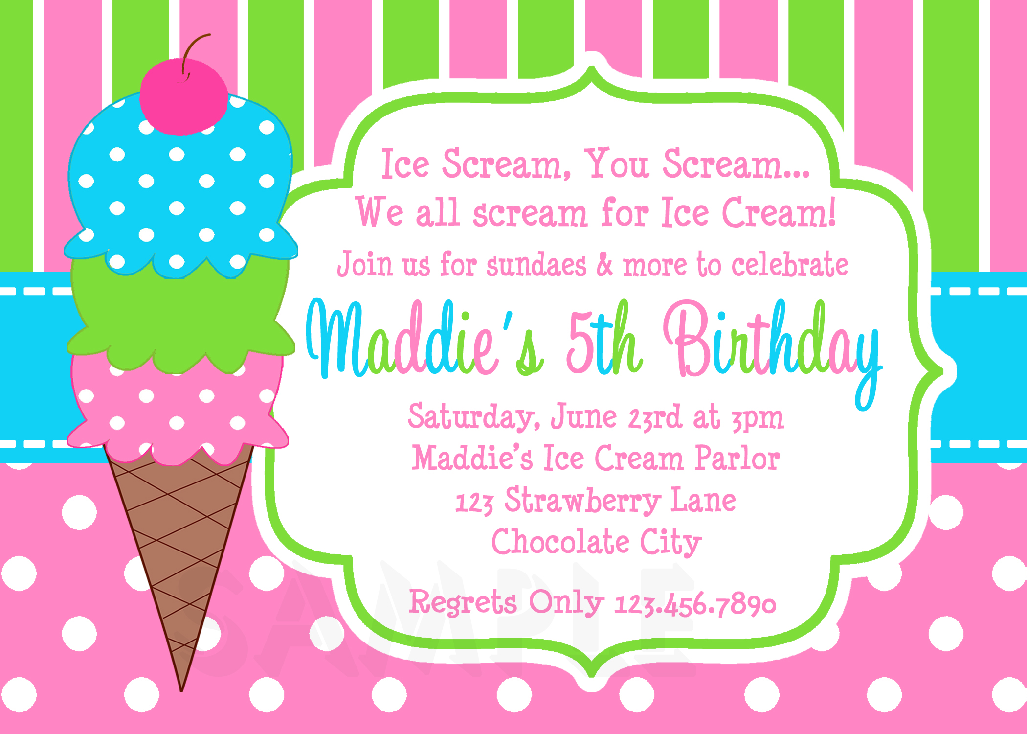 Printable Birthday Invitations Girls Ice Cream Party – Printable Birthday Party Invitation Cards