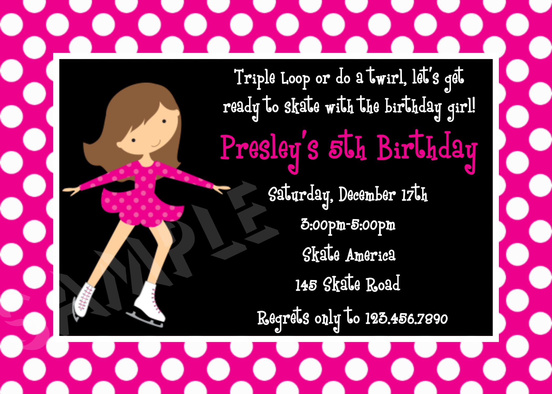 Printable Birthday Invitations Girls Ice Skating Party Figure Skate