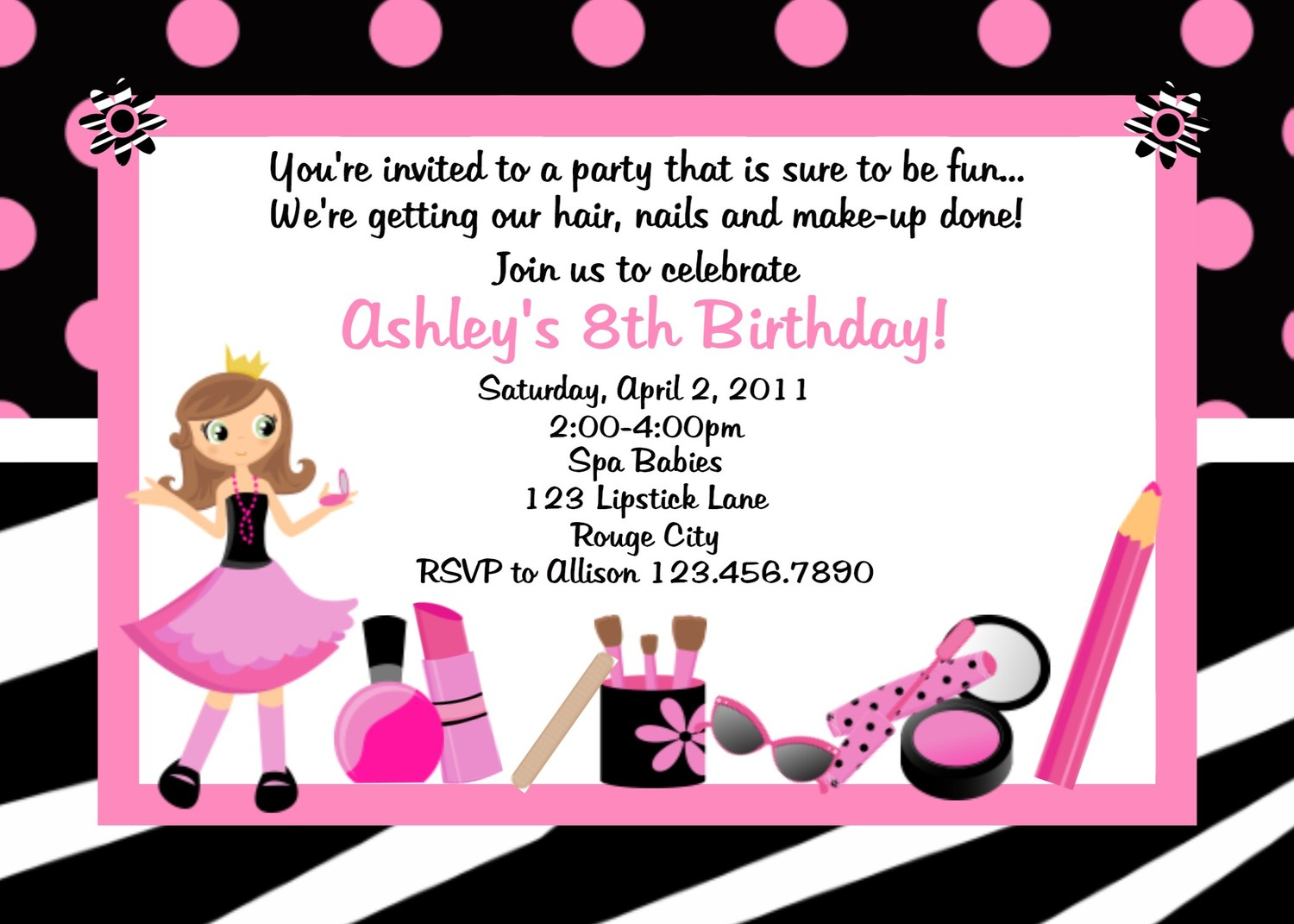 image about Printable Party Invite identified as Spa Zebra Birthday Bash Invites