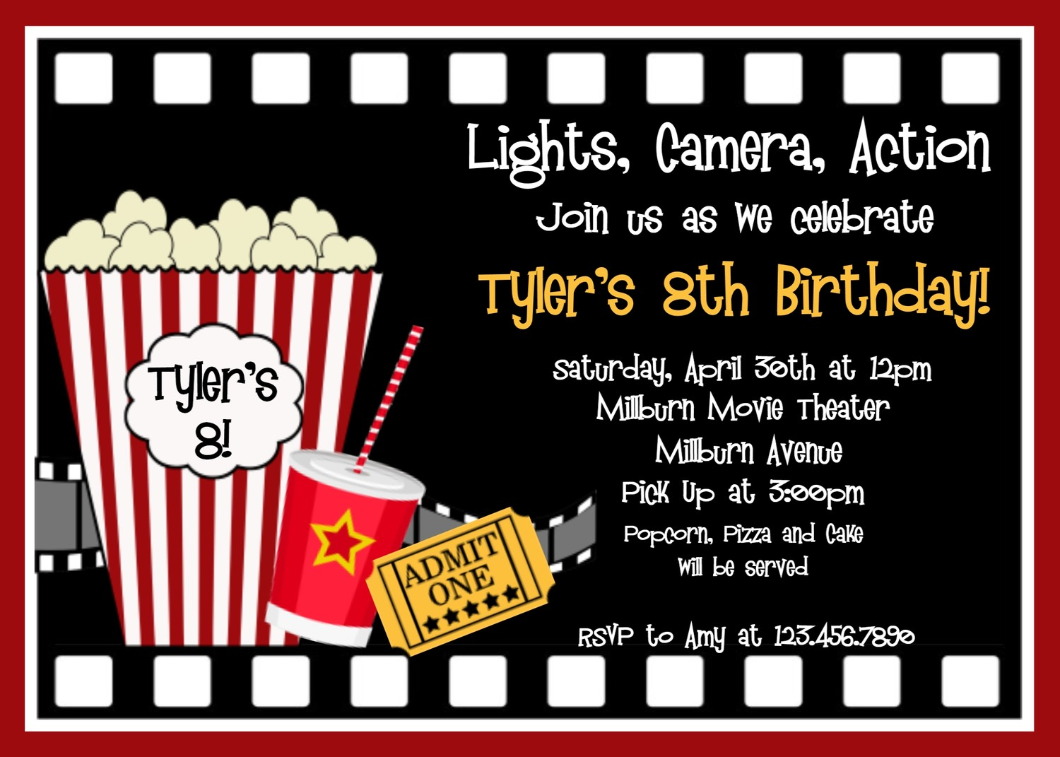 film premiere invitation template - printable birthday invitations movie party movie