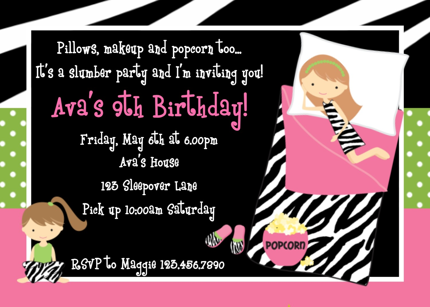 slumber party birthday invitations