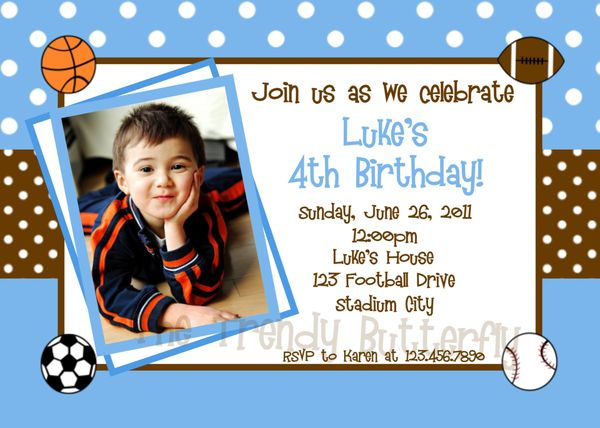 Printable Birthday Invitations Little Boys Sports Party Invites