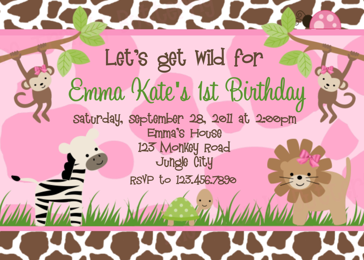 Photo Birthday Invitations Jungle 1st Birthday Party Lion Invitation