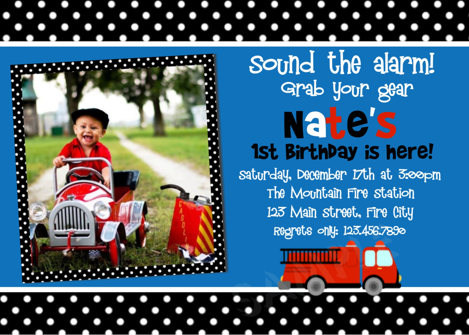 Printable Birthday Invitations Little Boys Party Invites – Fire Truck Birthday Invitation