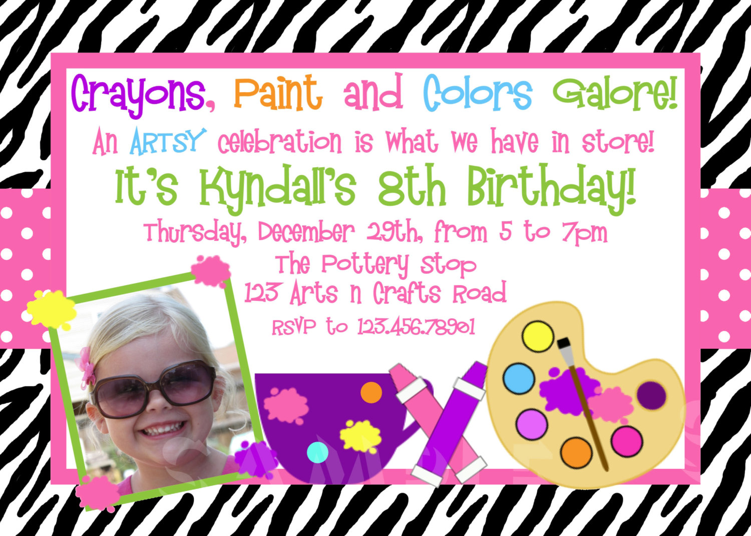 Printable Birthday Invitations Girls Arts And Crafts Painting