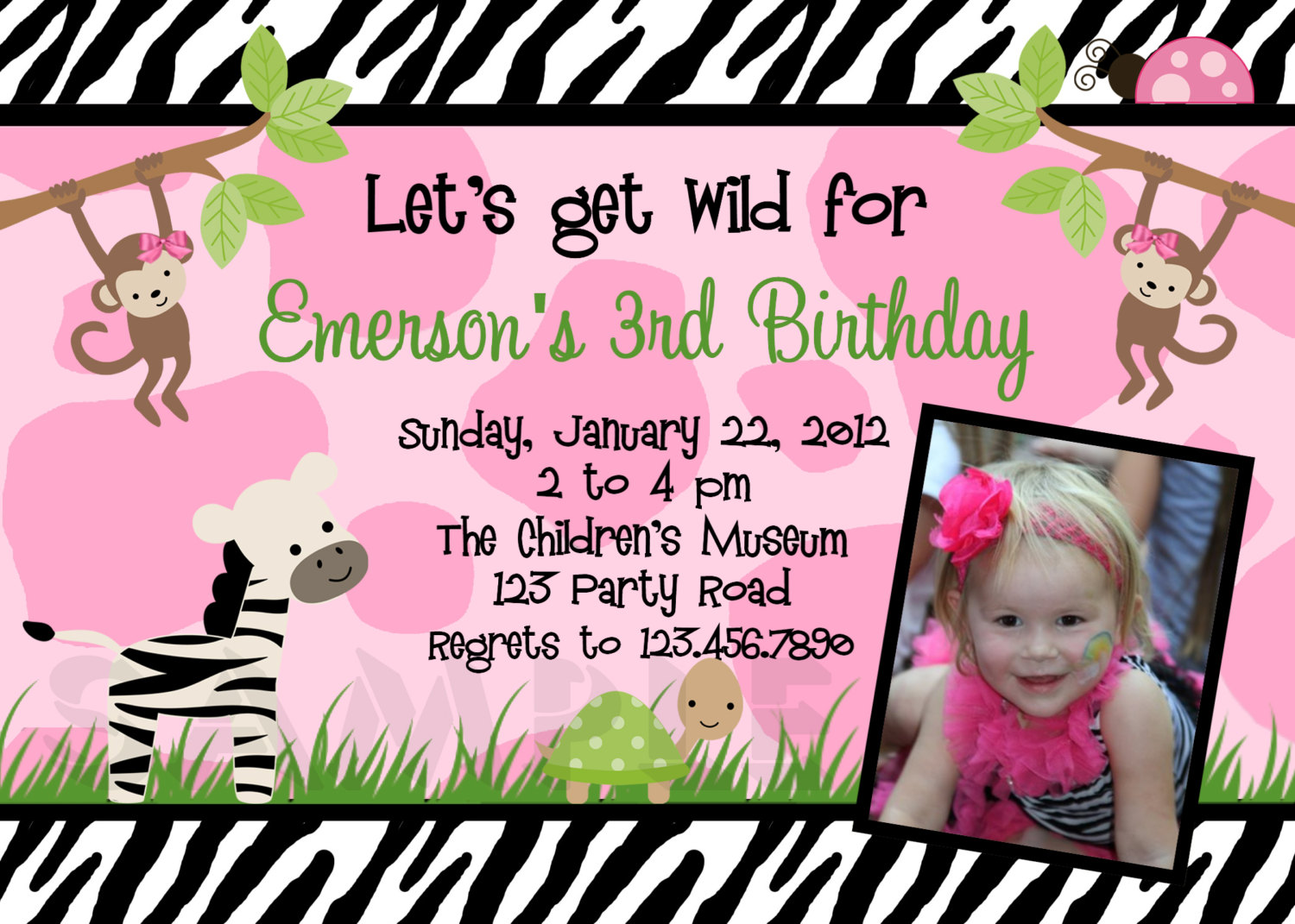 Photo Birthday Invitations, Jungle 1st Birthday Party, Monkey Invitation
