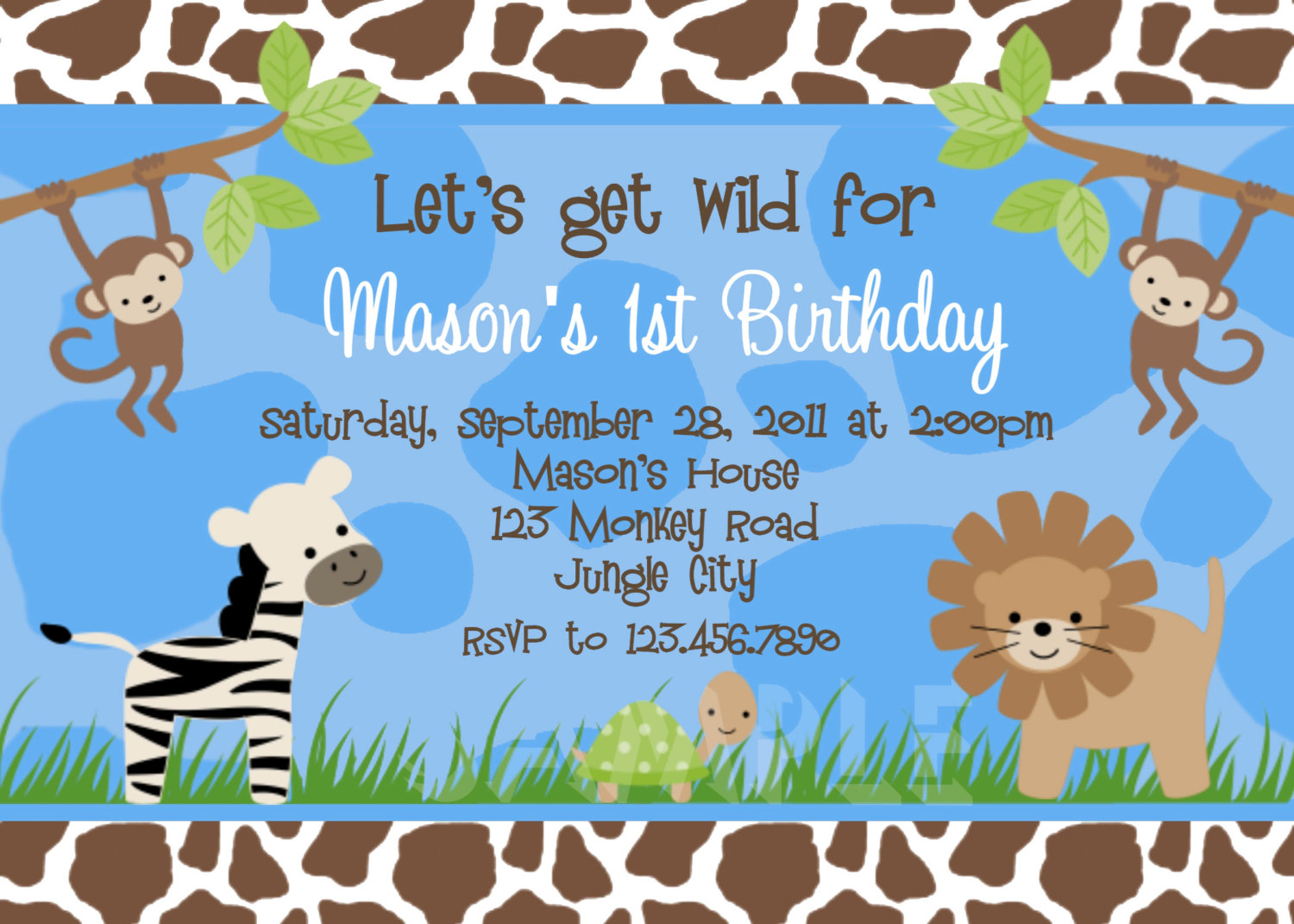 Birthday invitations jungle 1st party invites birthday party printable boy birthday invitation stopboris Choice Image