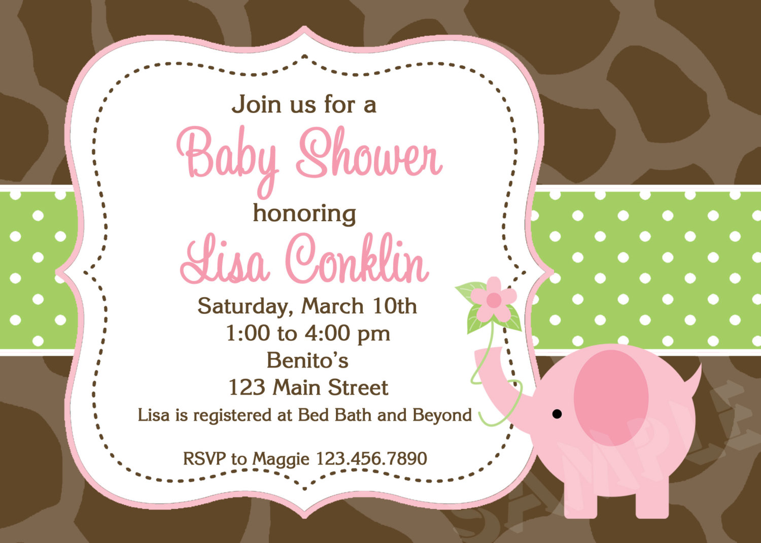 Couples baby shower invitations pink and gray elephant invite print your own baby shower invites filmwisefo