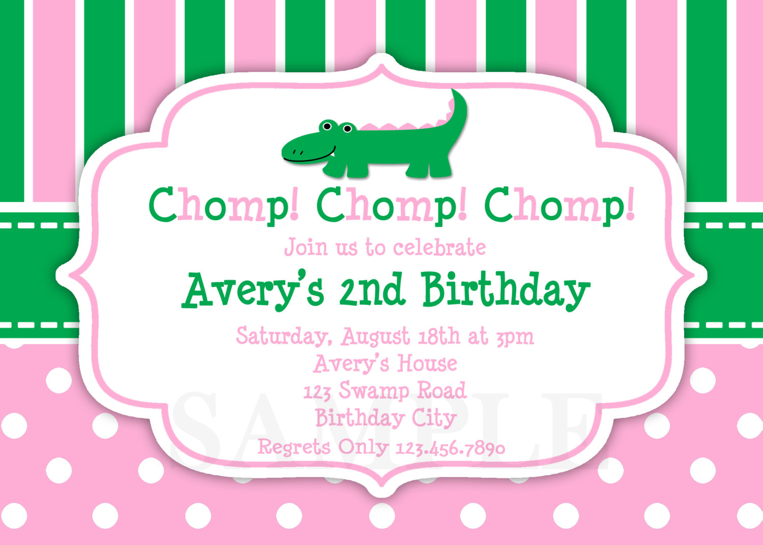 alligator girls birthday party invitations - Girl Birthday Party Invitations