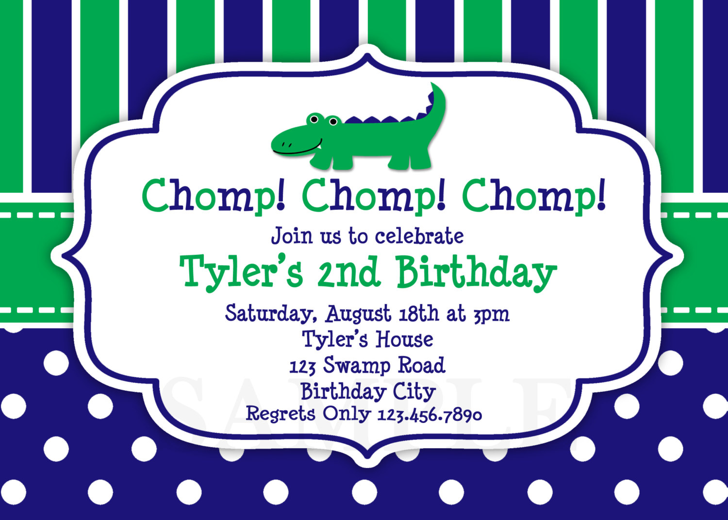 Printable Birthday InvitationsBoys Alligator Party
