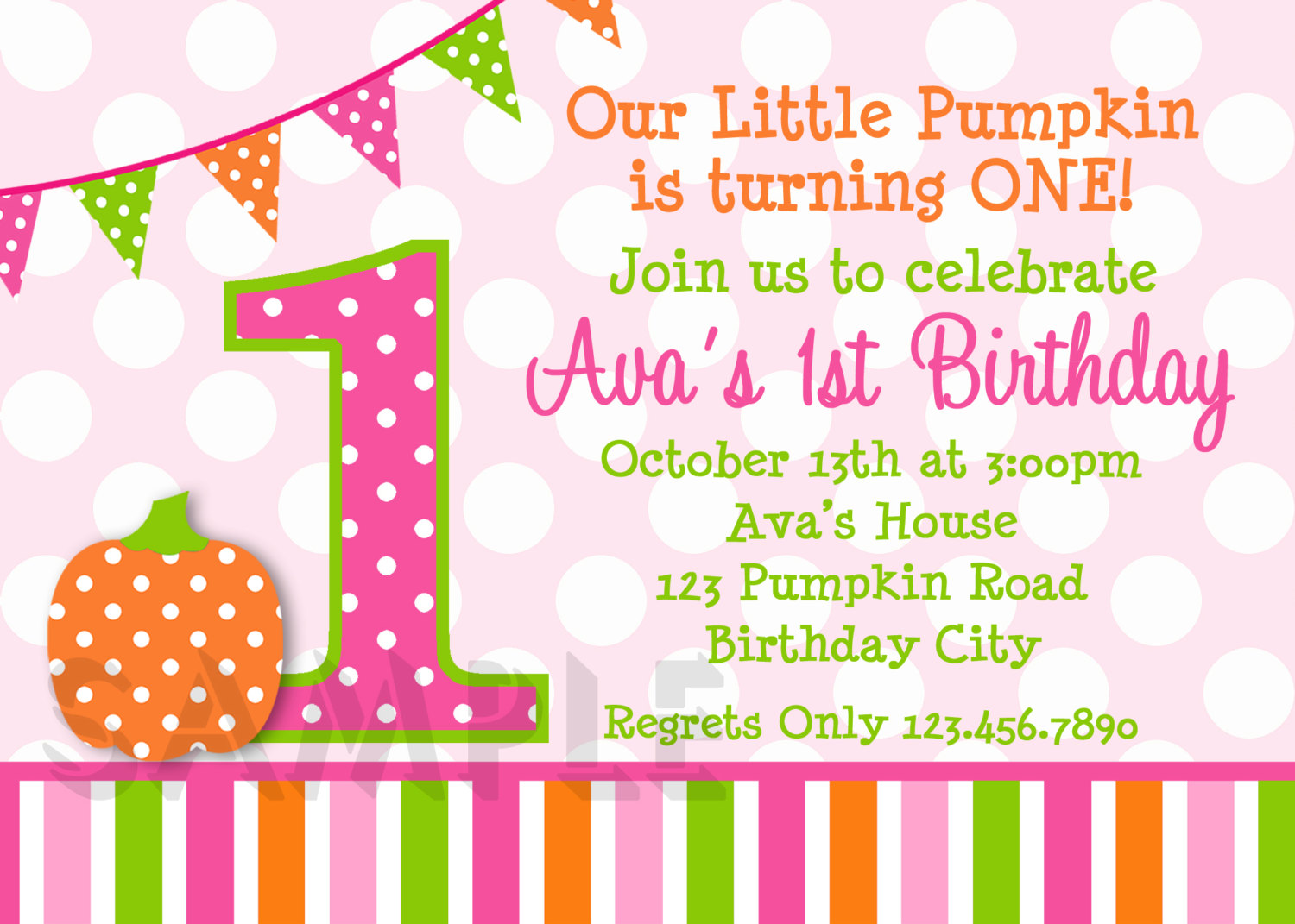Birthday invitations little girls pumpkin party invites printed pumpkin girls birthday party invitation stopboris
