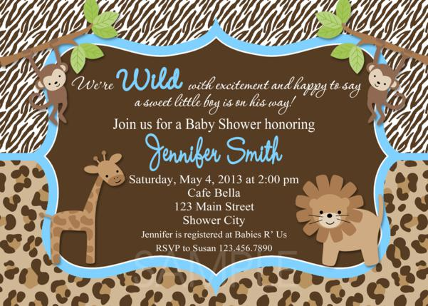 Baby Shower Invitations Baby Boy Invitation Printable Jungle