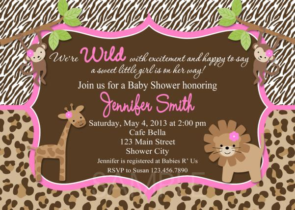 jungle baby shower invitations, pink leopard invite, printable, Baby shower invitation
