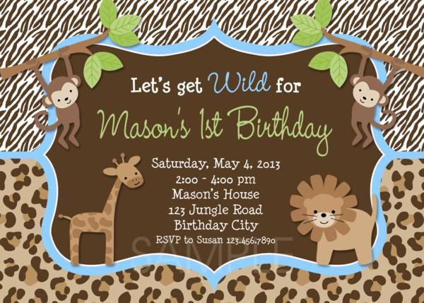 Birthday jungle invitations boys monkey 1st party invites birthday printable boy birthday invitation filmwisefo