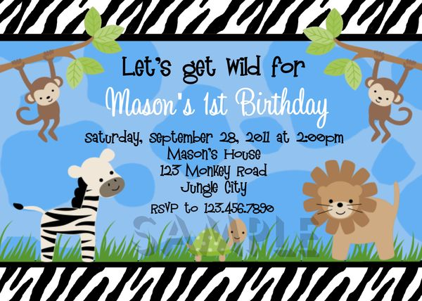 Birthday Invitations Boys Jungle 1st Party Invites Birthday