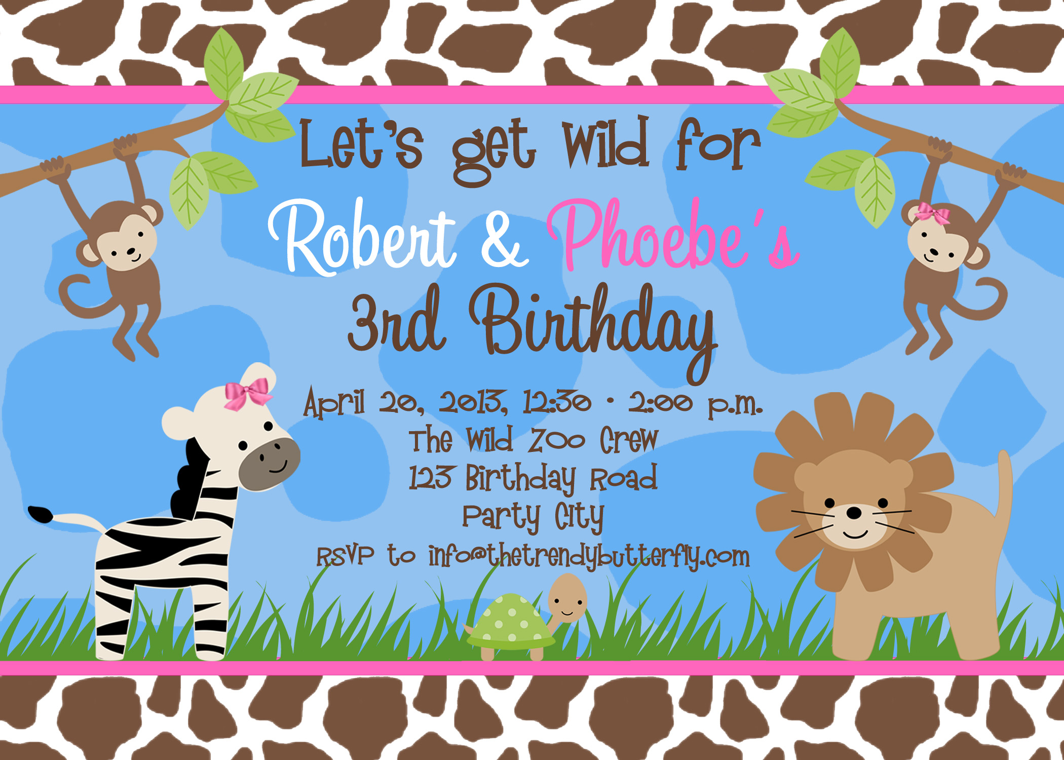 Photo Birthday Invitations, Jungle 1st Birthday Party, Monkey ...