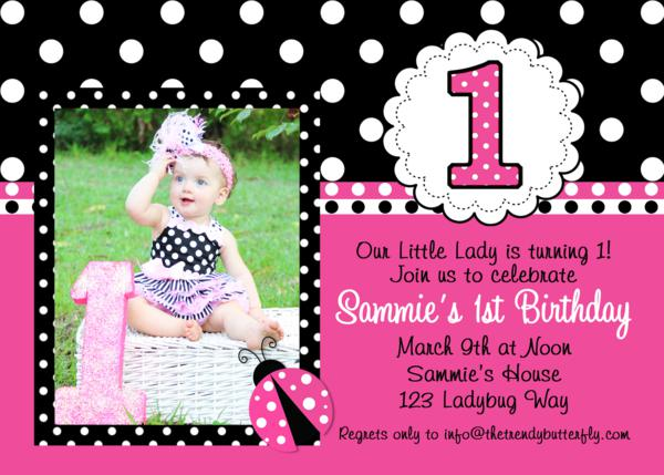 Printable Birthday Invitations Ladybug 1st Birthday Party Pink – Ladybug Invitations 1st Birthday