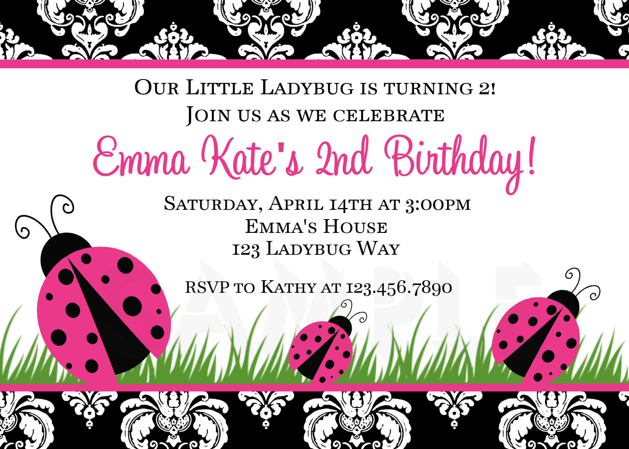 Printable Birthday Invitations Ladybug First Party – Damask Birthday Invitations
