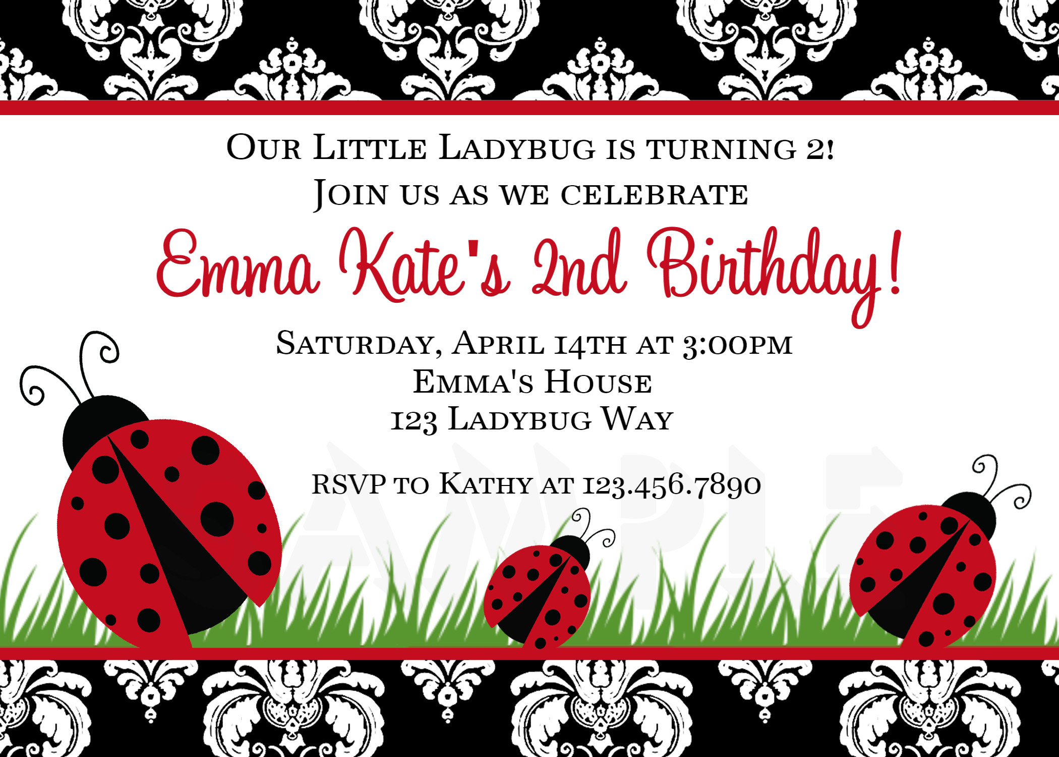Printable Birthday Invitations Ladybug First Party Red Ladybugs – Ladybug Birthday Cards