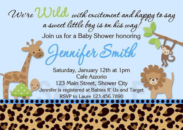 Baby Shower Invitations Boy Leopard Blue Invite Printable