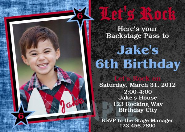 printable birthday invitations, little boys rock roll party invites, Birthday invitations