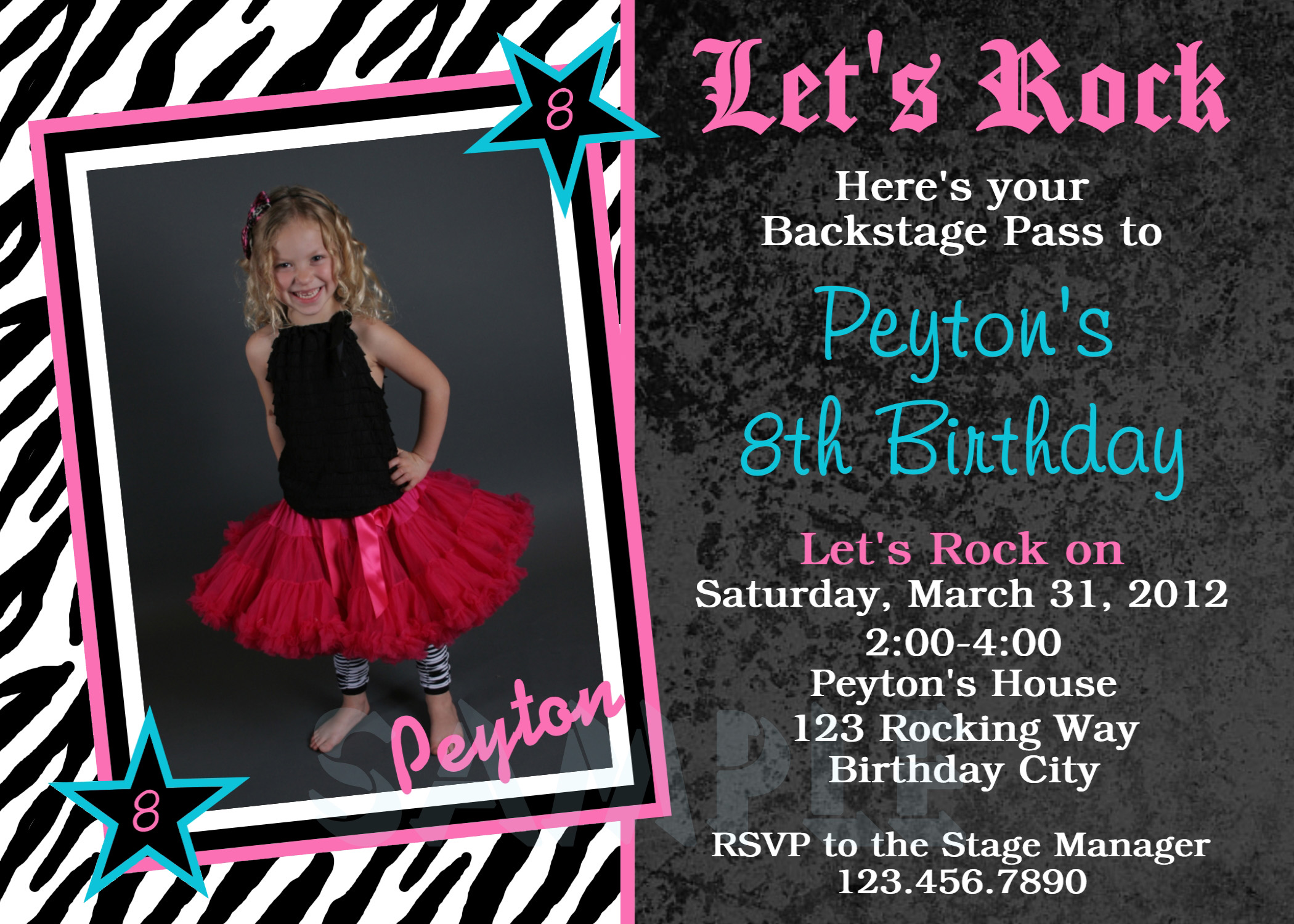 Printable Birthday Invitations, Rock N Roll Party,