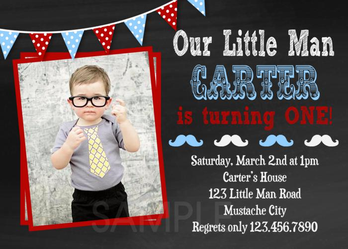 Printable Birthday Invitations Little Man Mustache Birthday 1st