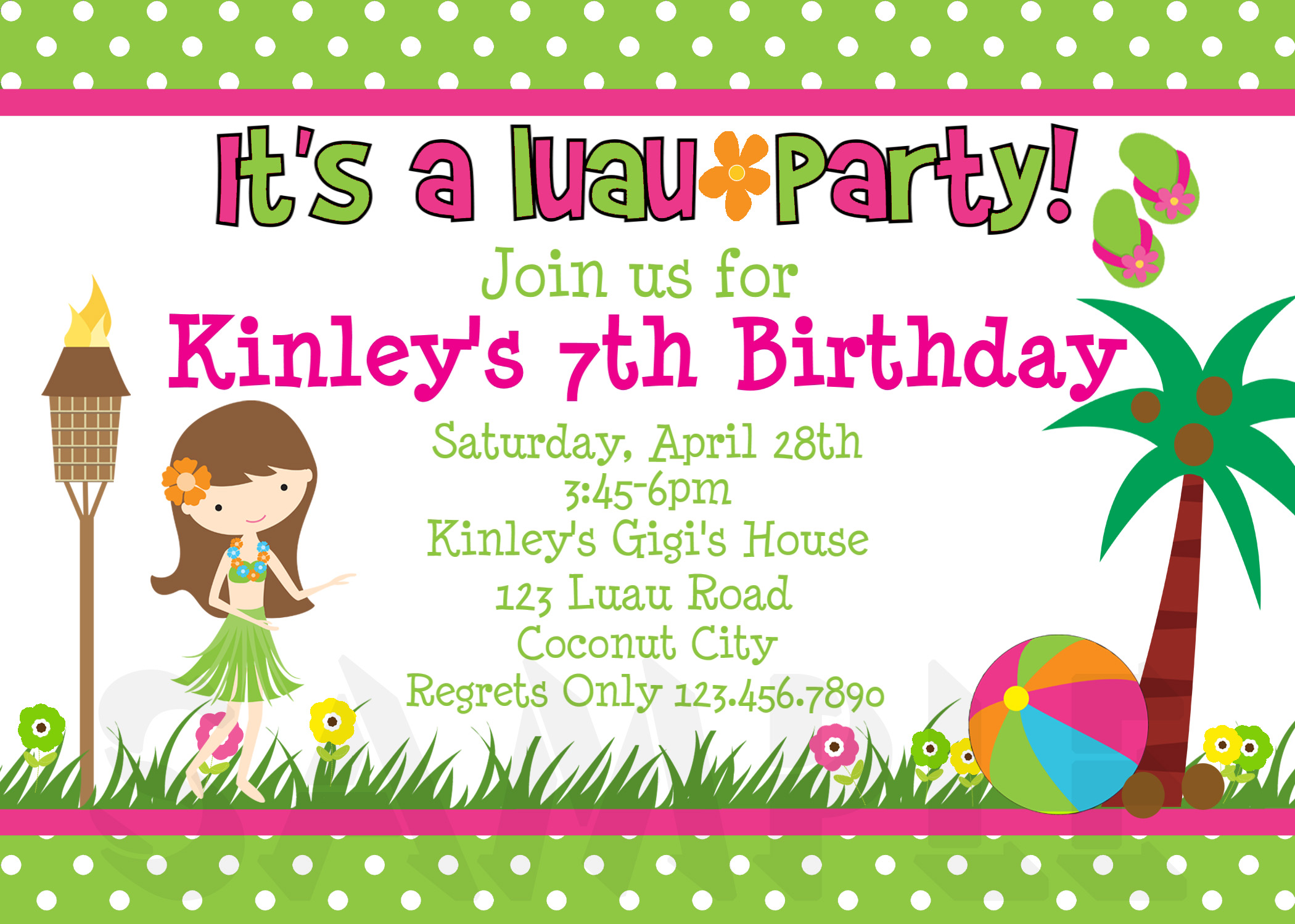 Printable Birthday Invitations Luau Party Little Girl