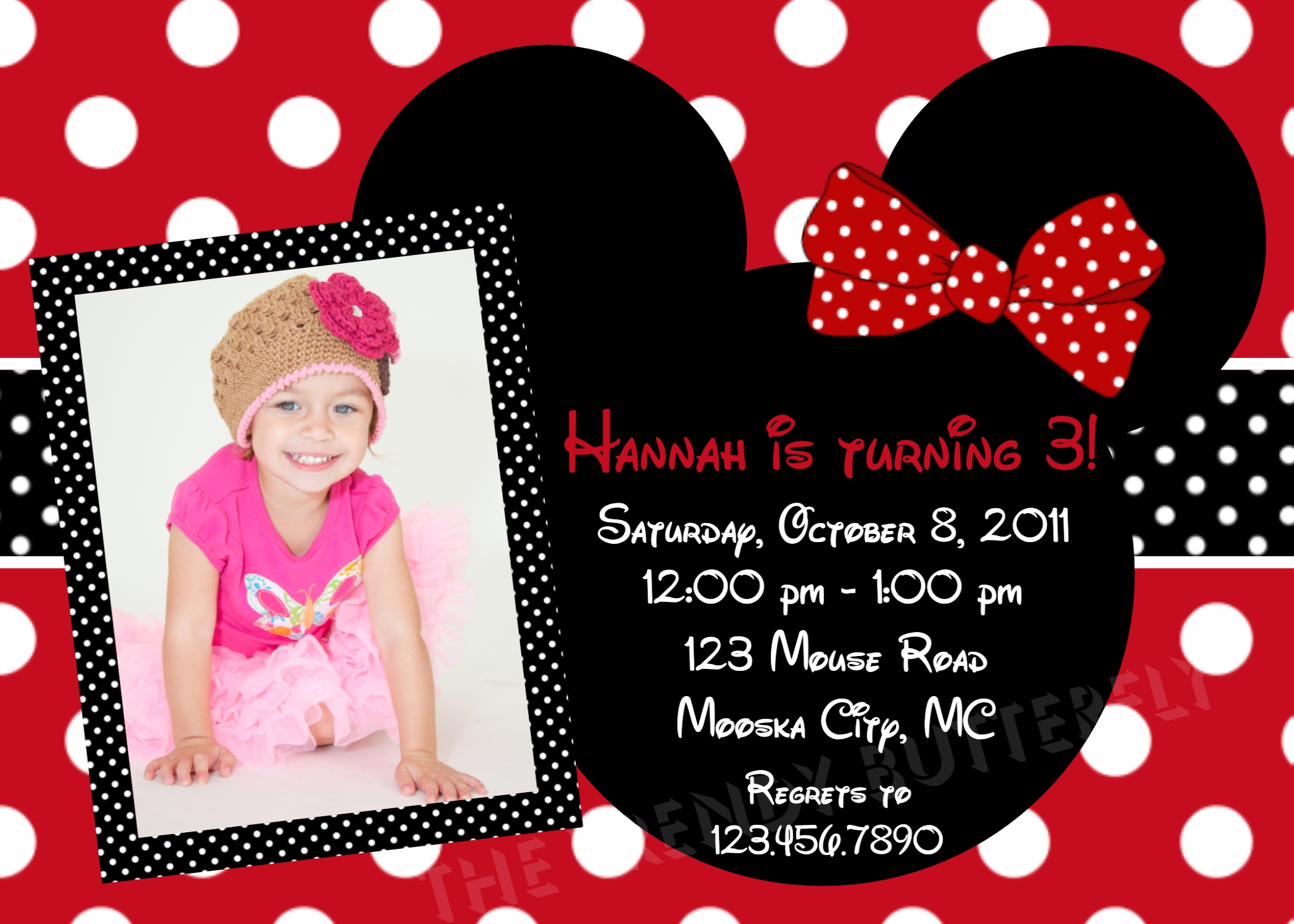 Printable Birthday Invitations, Girls Red Mouse Party