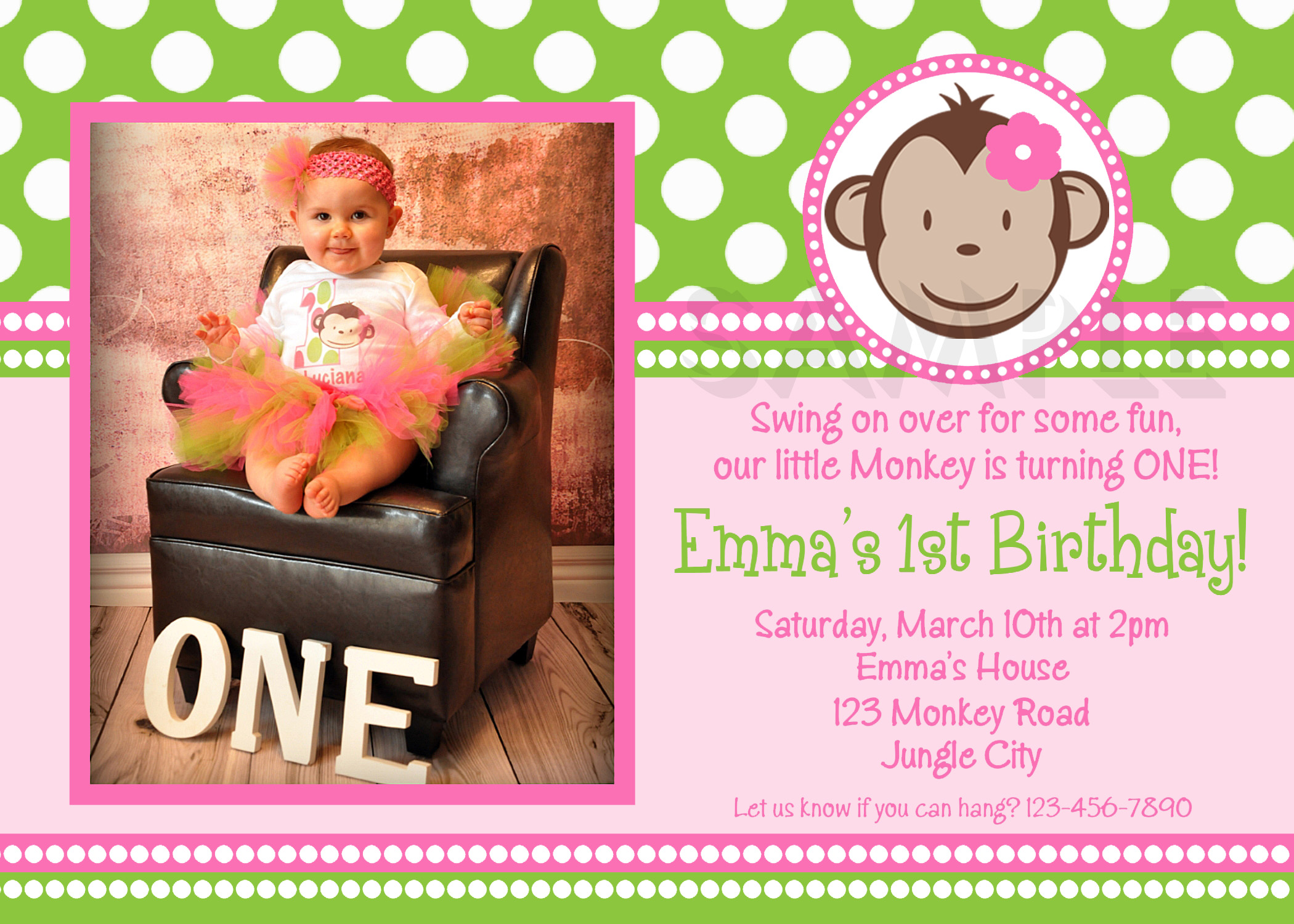 Printable Birthday Invitations, Girls Mod Monkey Party