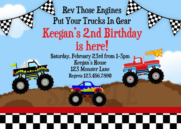 printable birthday invitations boy monster truck