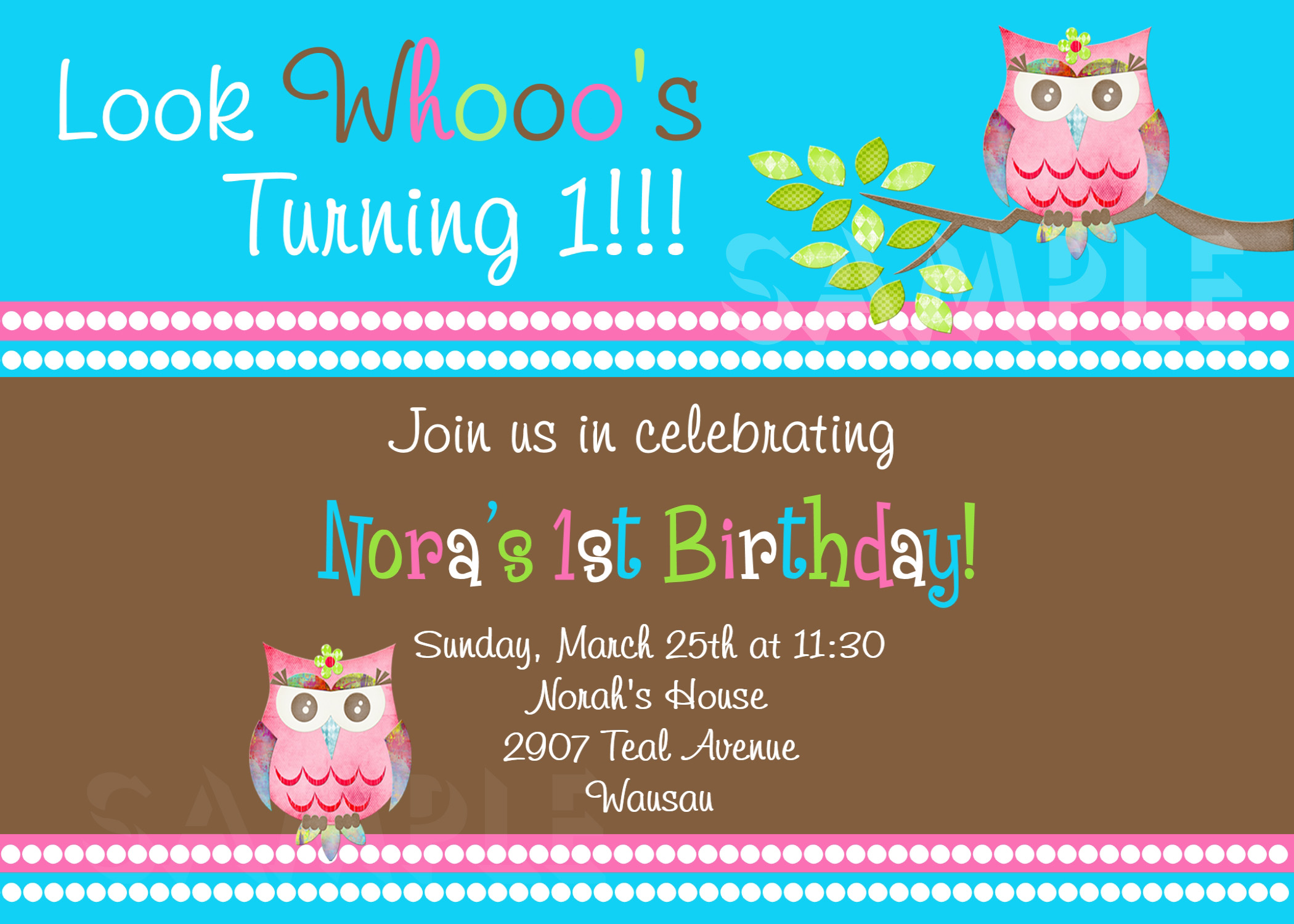 printable 1st birthday invitations  girls owl party