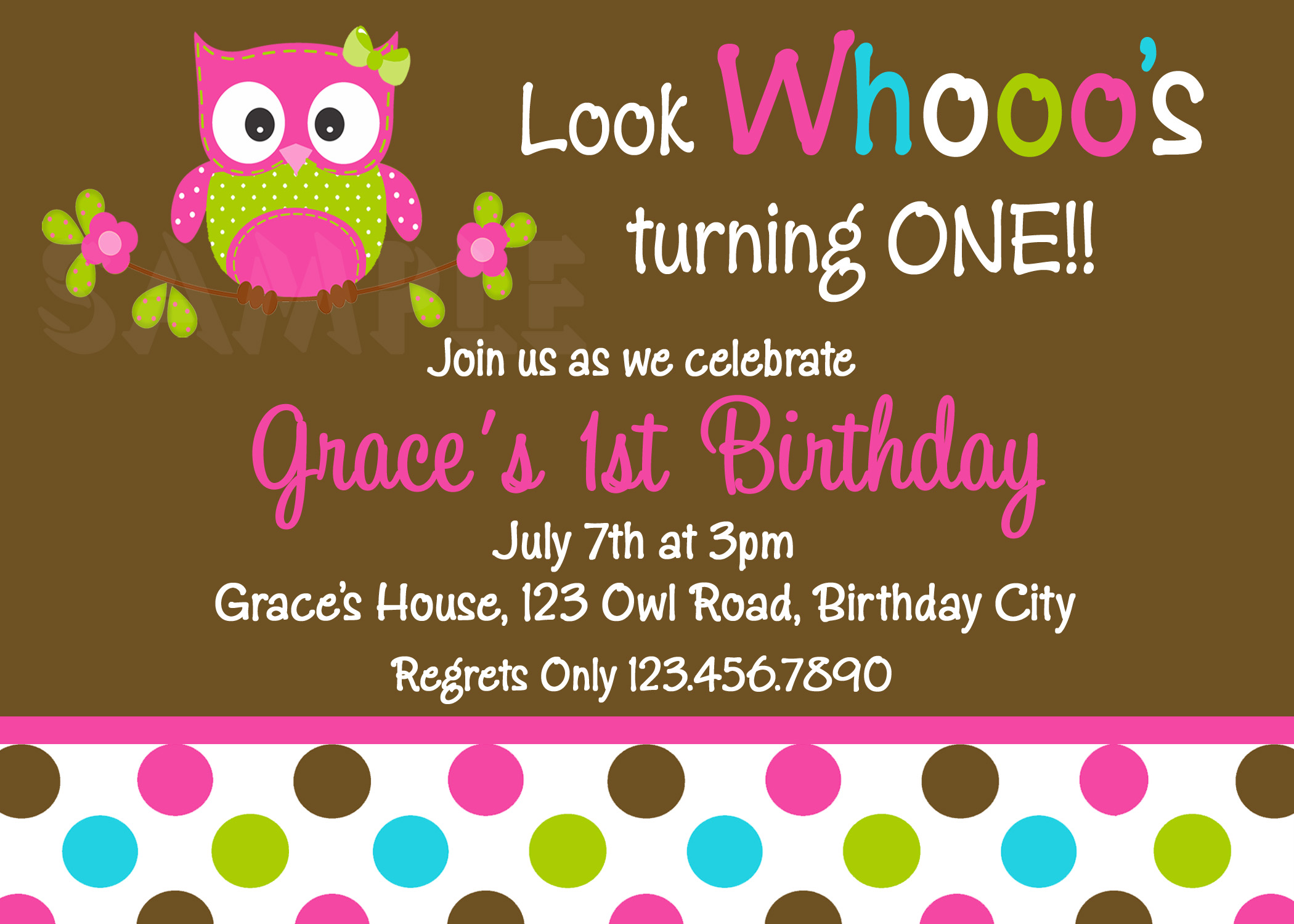 Printable 1st Birthday Invitations, Girls Owl Party