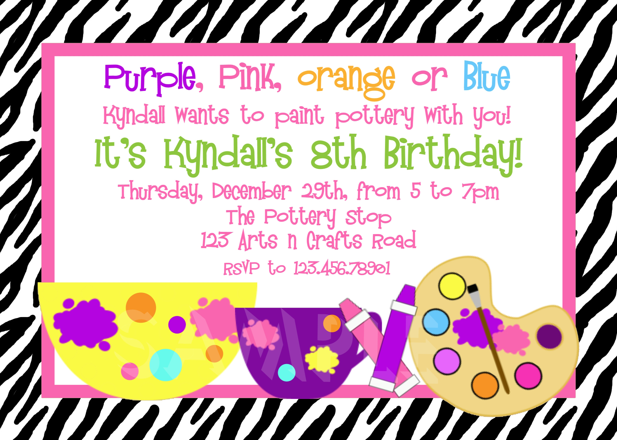 printable birthday invitations  girls pottery painting party