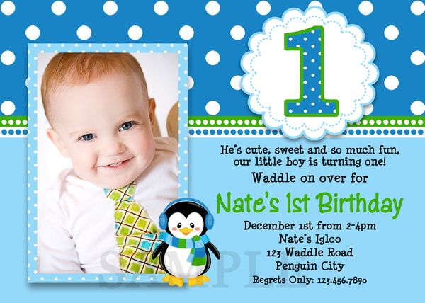 Printable Birthday Invitations Little Boys Penguin Party Invites – Boy Party Invitations