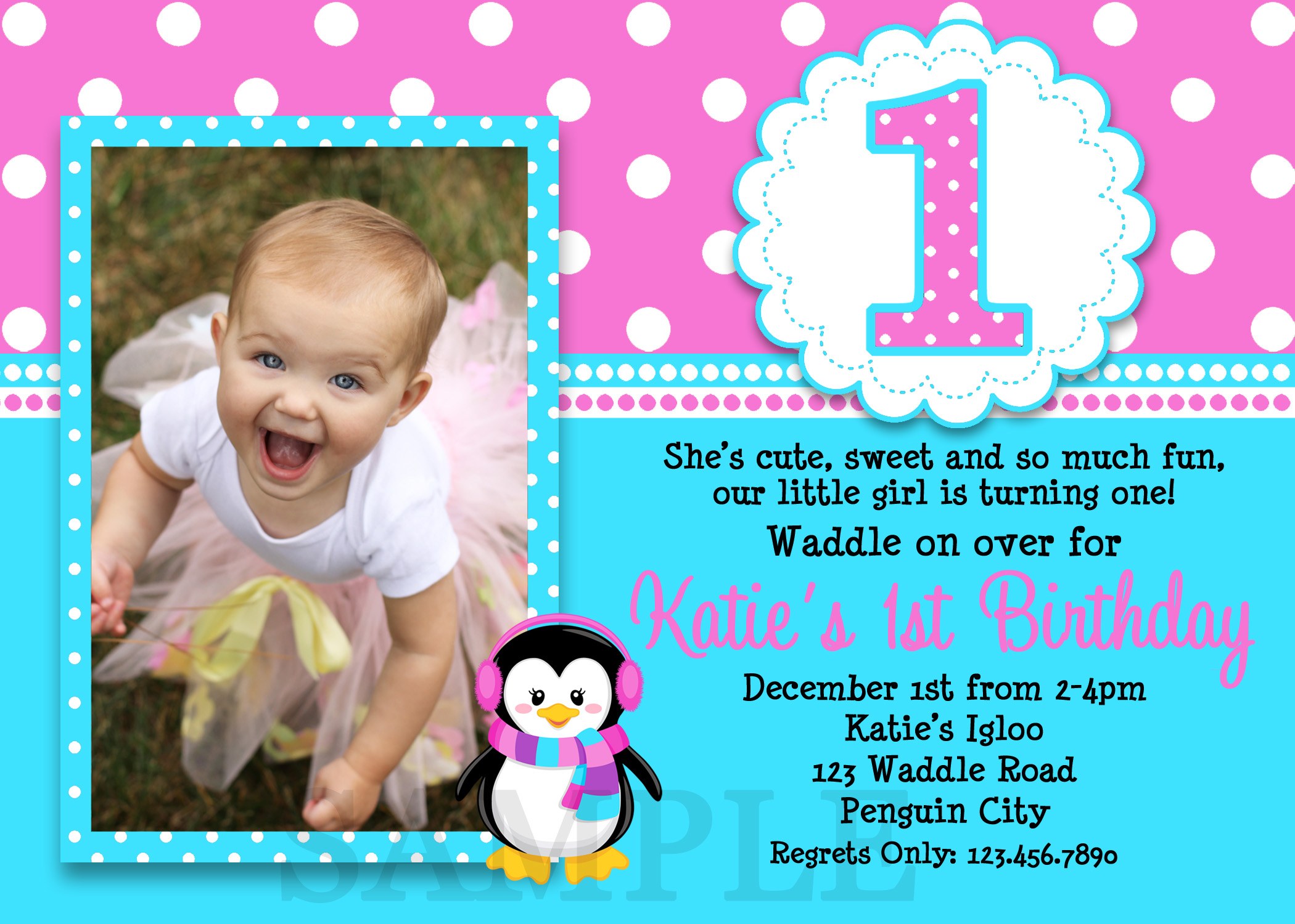Printable birthday invitations girls penguin party girls printable birthday invites filmwisefo Images