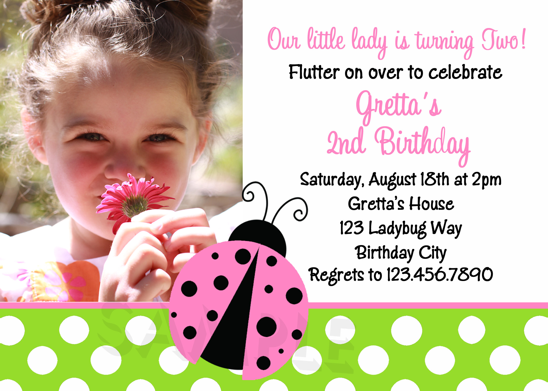 pink polka dot invitation