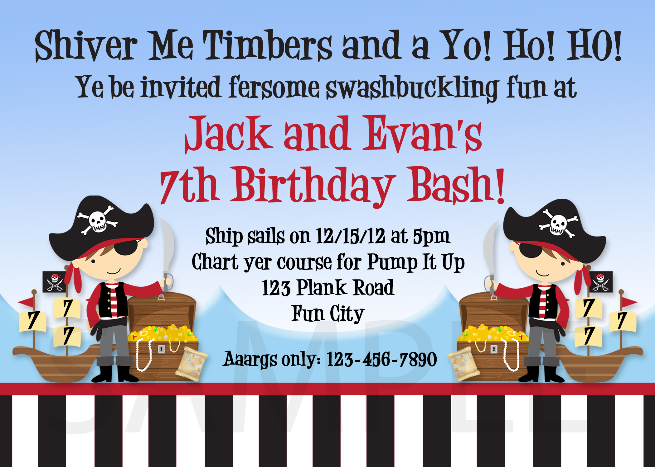 Printable Birthday Invitations, Boys Pirate Party Invites