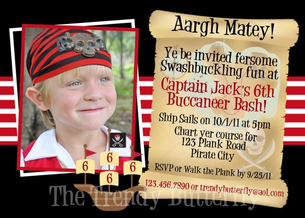 Attractive Printable Birthday Invitations, Little Boys Pirate Party Invites KQ39
