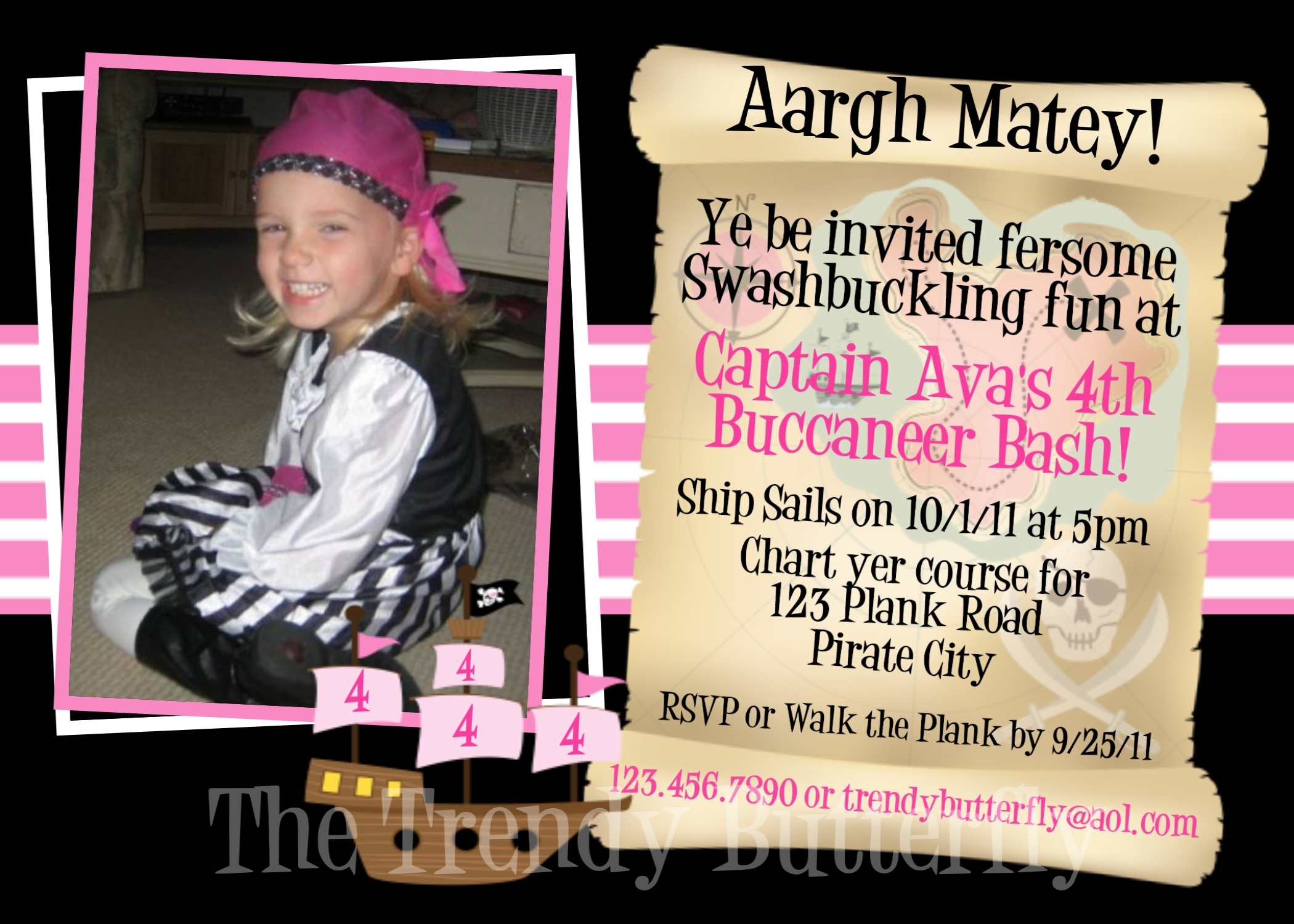 Printable Birthday Invitations, Girls Pirate Party