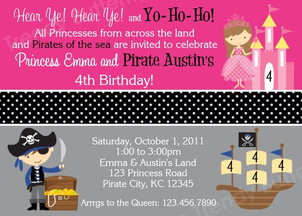 Printable Birthday Invitations Twins Sibling Party Pirate – Princess and Pirate Birthday Invitations