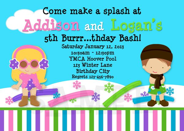 Printable Birthday Invitations, Twins Boy Girl, Winter Pool Party
