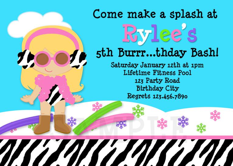 Printable Birthday Invitations, Girls Pool Party , Swimming Party