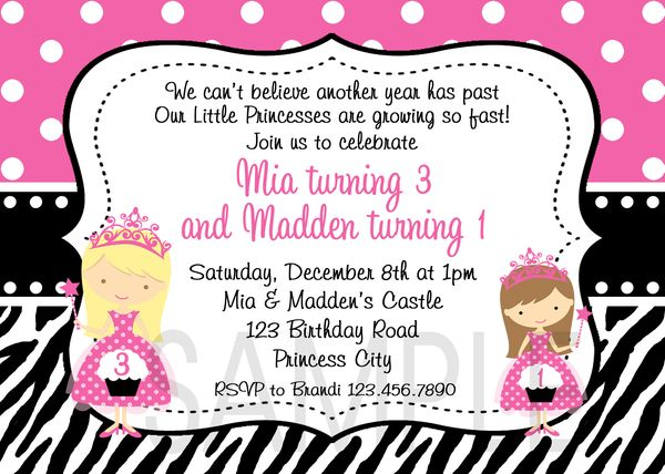 Printable Birthday Invitations Twins Sibling Party