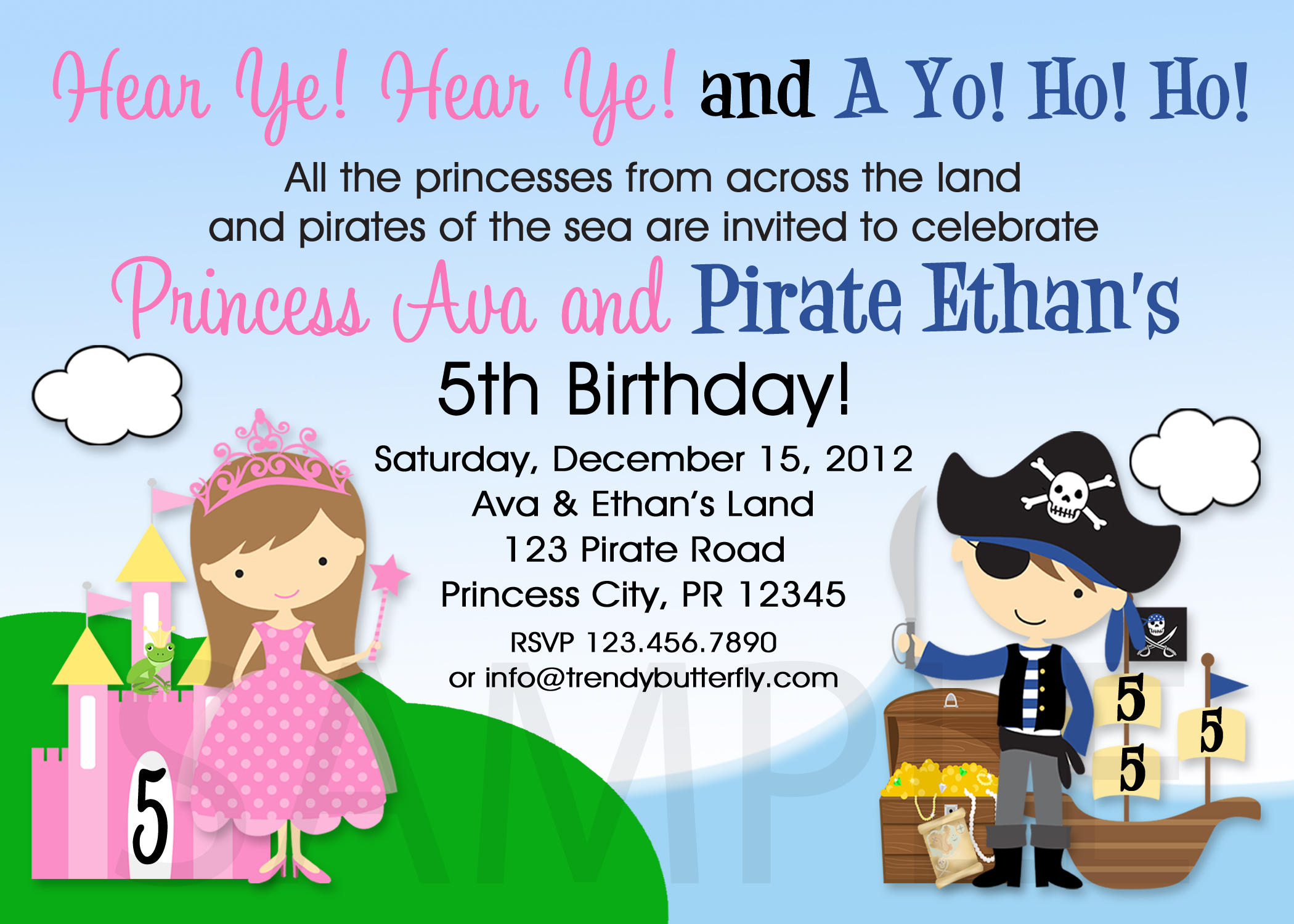 Printable Birthday Invitations, Twins Siblings Pirate Party Invites