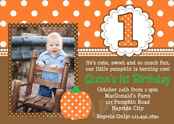 Printable Birthday Invitations Little Boys Pumpkin Party