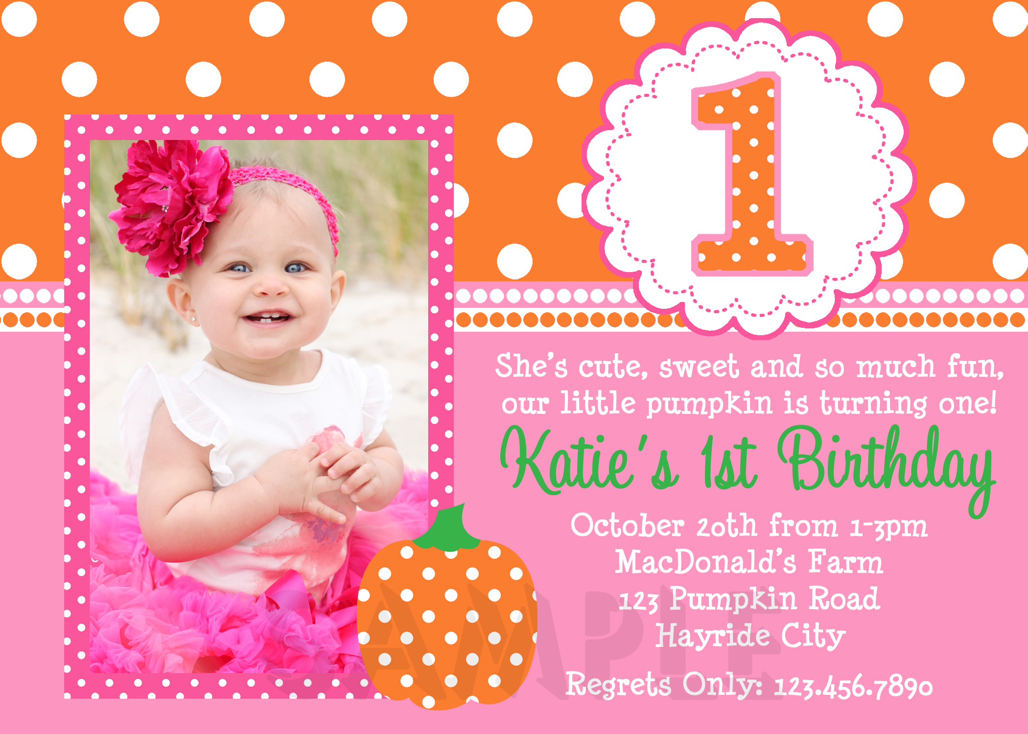 Pumpkin Birthday Invitations Pumpkin Birthday PartyGirls 1st